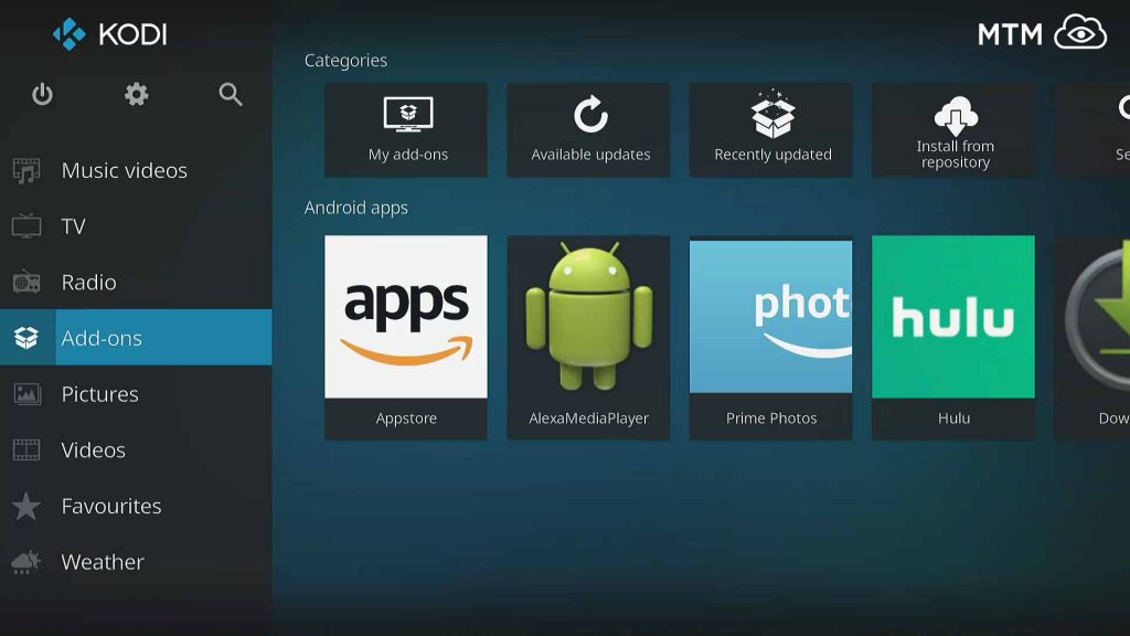 Access the Build Wizard installation area from Kodi Addon Main Menu Item