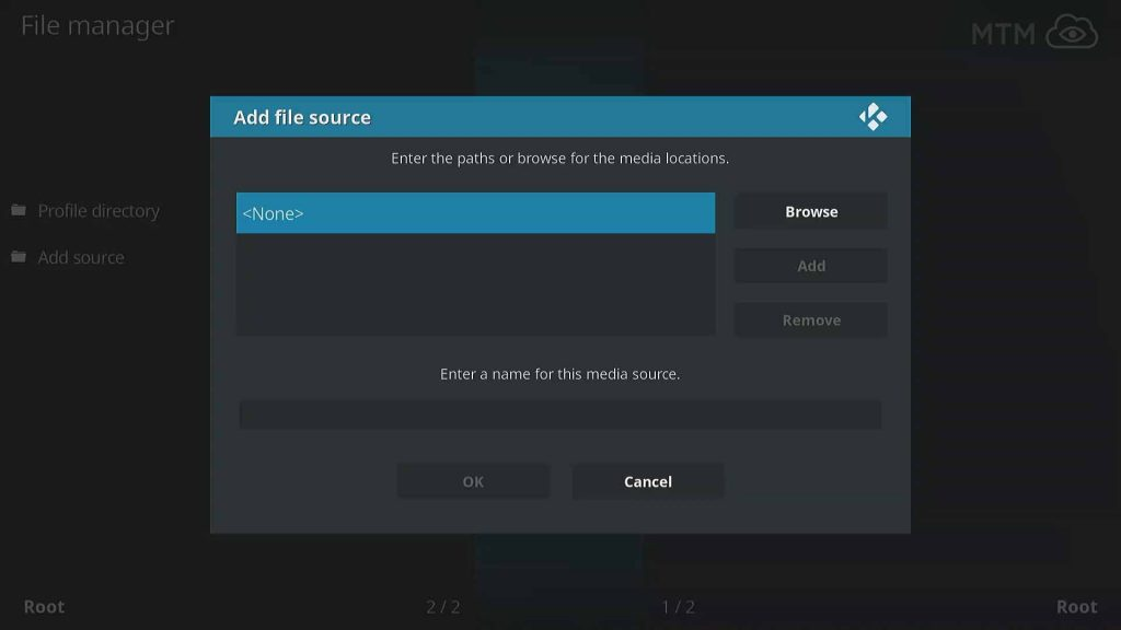 Select None to Define Custom Kodi Resource URL for No Limits Magic Build Wizard