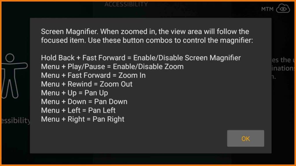 Amazon Fire TV Stick Zoomed In Accessibility Screen Magnifier Dialog Explains How to Zoom Out