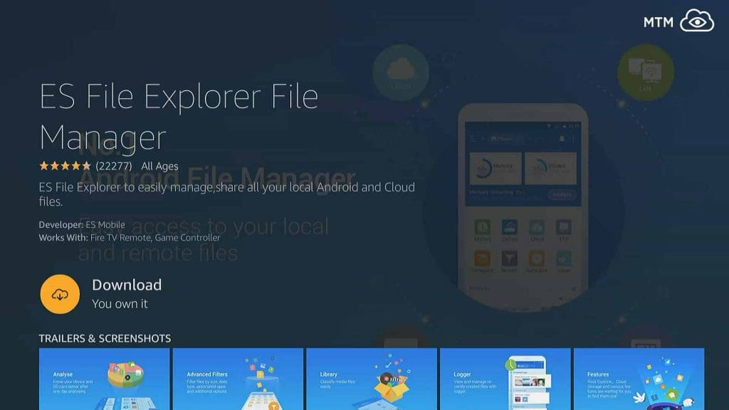 Download and install ES File Explorer APK for free from Amazon App Store as part of jailbreaking an Amazon Fire Stick