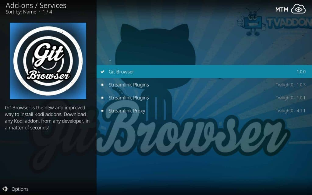 Kodi Git Browser within TVAddons Repo Services Menu for GitHub