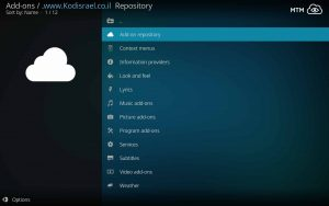 Kodil (Kodi Israel Group) Repository Main Menu - Best Mega Kodi Repo