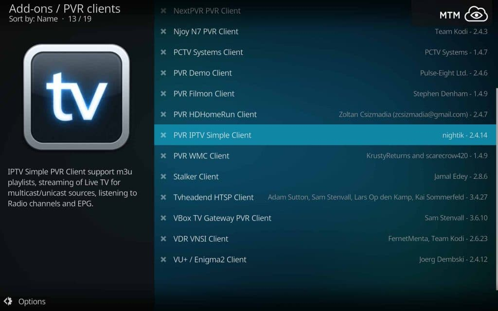 Click on the PVR IPTV Simple Client M3U Player
