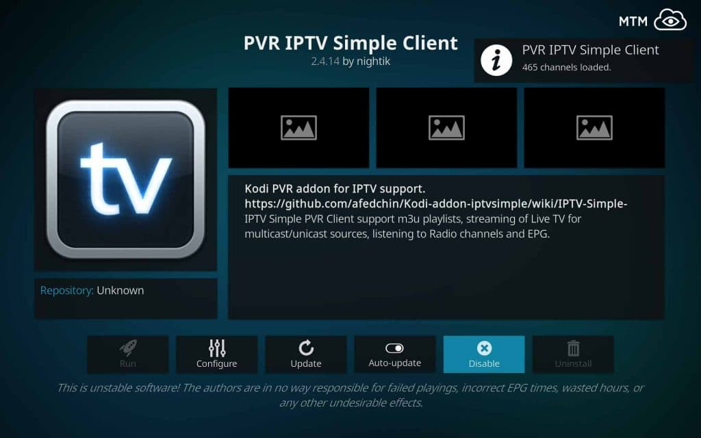 PVR IPTV Simple Client Channels Loaded from M3U Playlist URL when Enabled