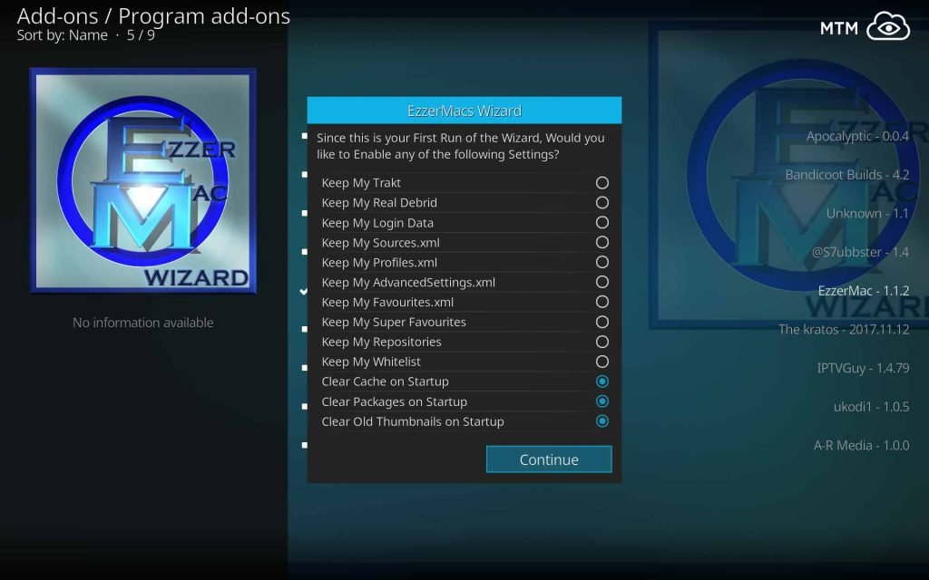Choose Data to Keep or Clear with EzzarMacs Wizard First Run