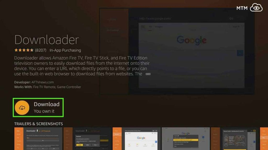 click download on firestick for teatv apk downloader app