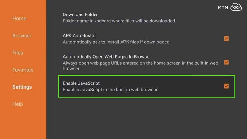 enable javascript to download mouse toggle apk on fire tv