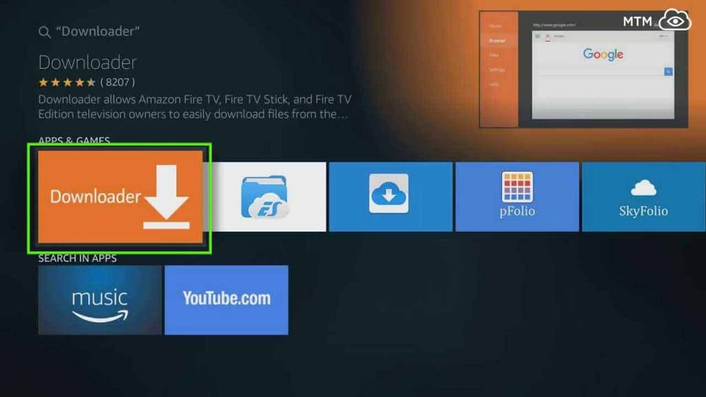 choose downloader app to install and download mouse toggle apk on fire tv or firestick