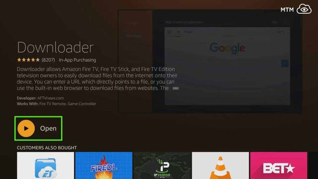 open downloader to start teatv apk download and install on fire tv stick
