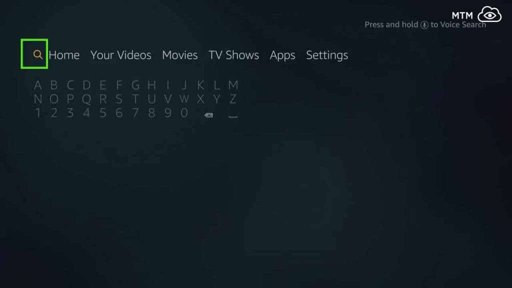search for downloader to download and install teatv apk on firestick