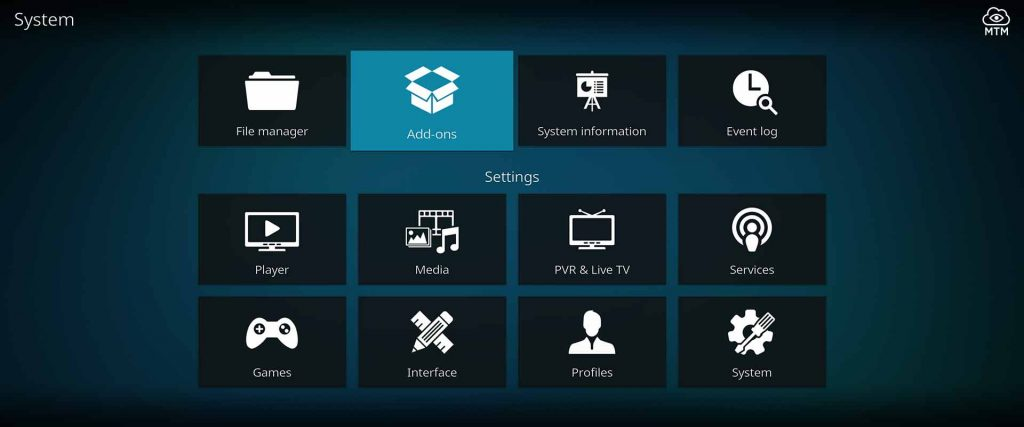 kodi system add-ons area to install zip files, repos, wizards, and builds