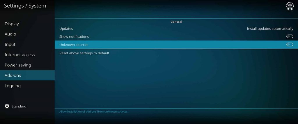 Click Unknown Sources in Add-ons Kodi System Settings Menu to Allow