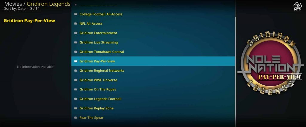 install gridiron legends on kodi firestick for live american football