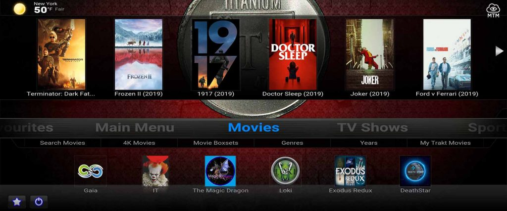 titanium kodi build from supreme builds wizard on firestick 4k widescreen tv