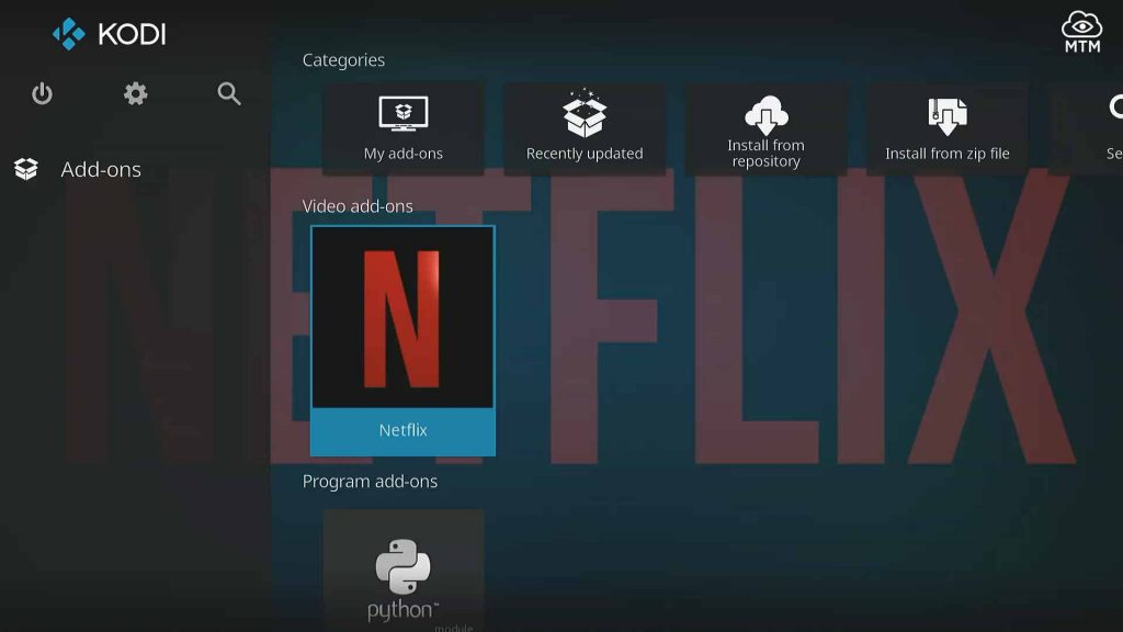 netflix installed in kodi video addons