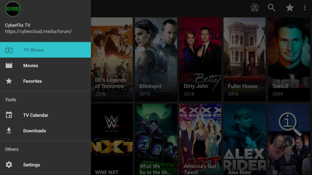 cyberflix apk menu with download calendar and settings