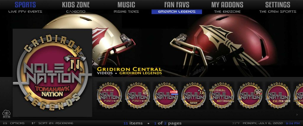 gridiron legends sports kodi addon in misfit mods lite 18 build