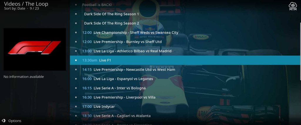 sports streams in the loop fan zone include f1 and indy racing and football