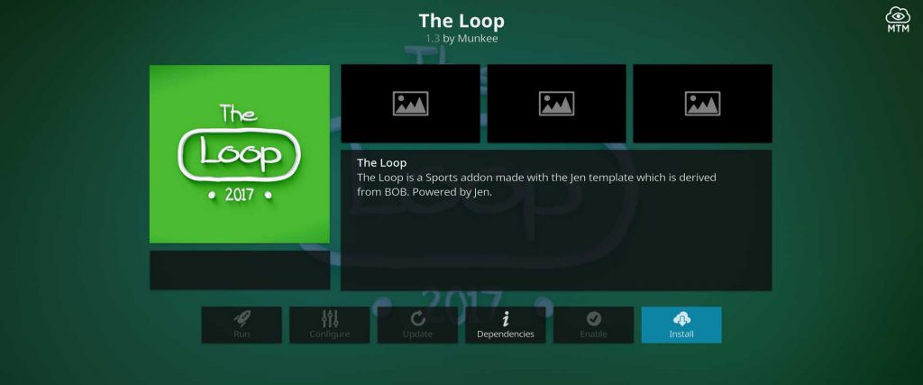 sports addon the loop install button
