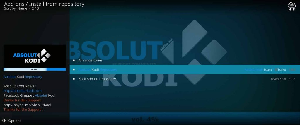 Enter Absolut Kodi Repository for Netflix