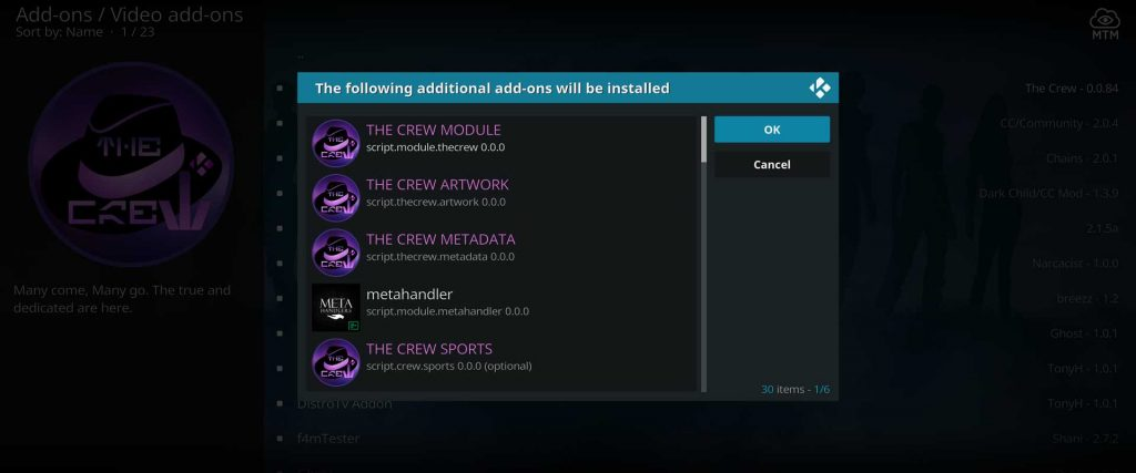 the crew movies addon dependency install